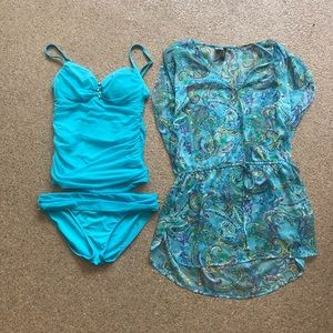 Ralph Lauren Tankini and Coverup- Size 6/Small